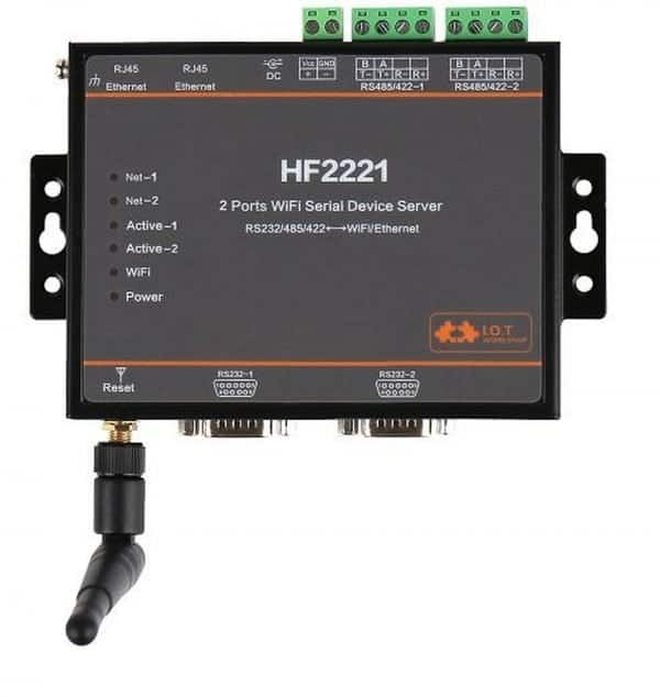 HF2221 - Multiport WiFi Serial Server - Convertitore Multi Port Seriale (RS232/RS422/RS485) a Ethernet/Wi-Fi (con antenna SMA)